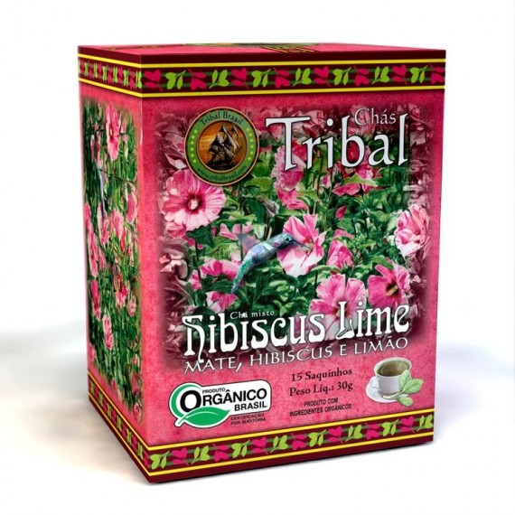 Chá Tribal de Hibiscus Lime Orgânico 15 saches 30g - Tribal