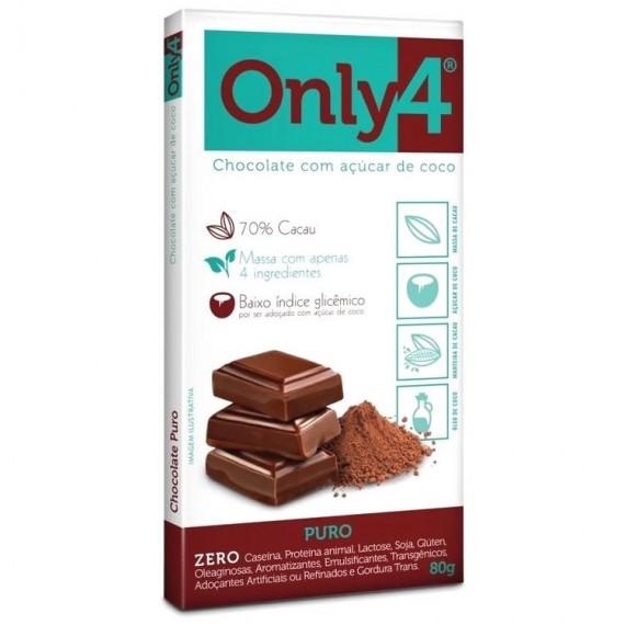 Chocolate 70% de Cacau Sabor PURO 80g - Only4