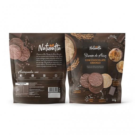 Biscoito de Arroz Chocolate Amargo Sem Glúten 60g - Naturatta