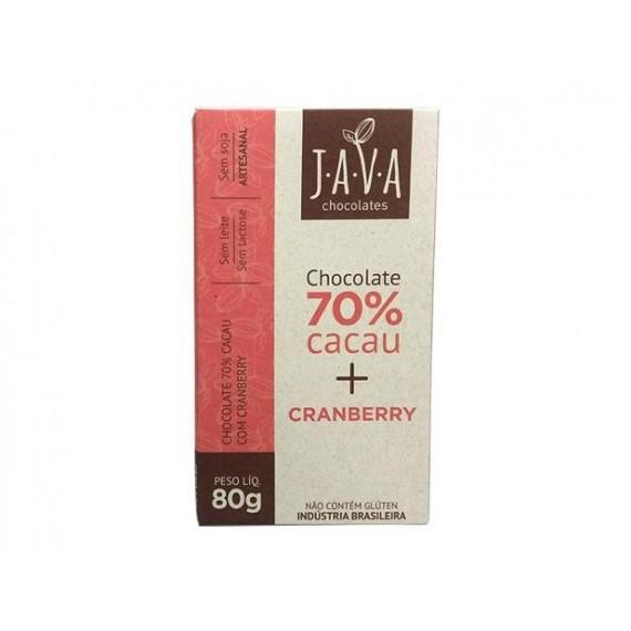 Chocolate 70% Cacau Sabor Cranberry 80g - Java
