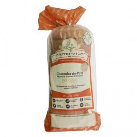 Pão Castanha do Pará/Quinoa/Girassol Vegano 400g - Nutri-Vida