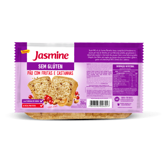 Pão Sem Glúten Frutas Castanhas 350g - Jasmine